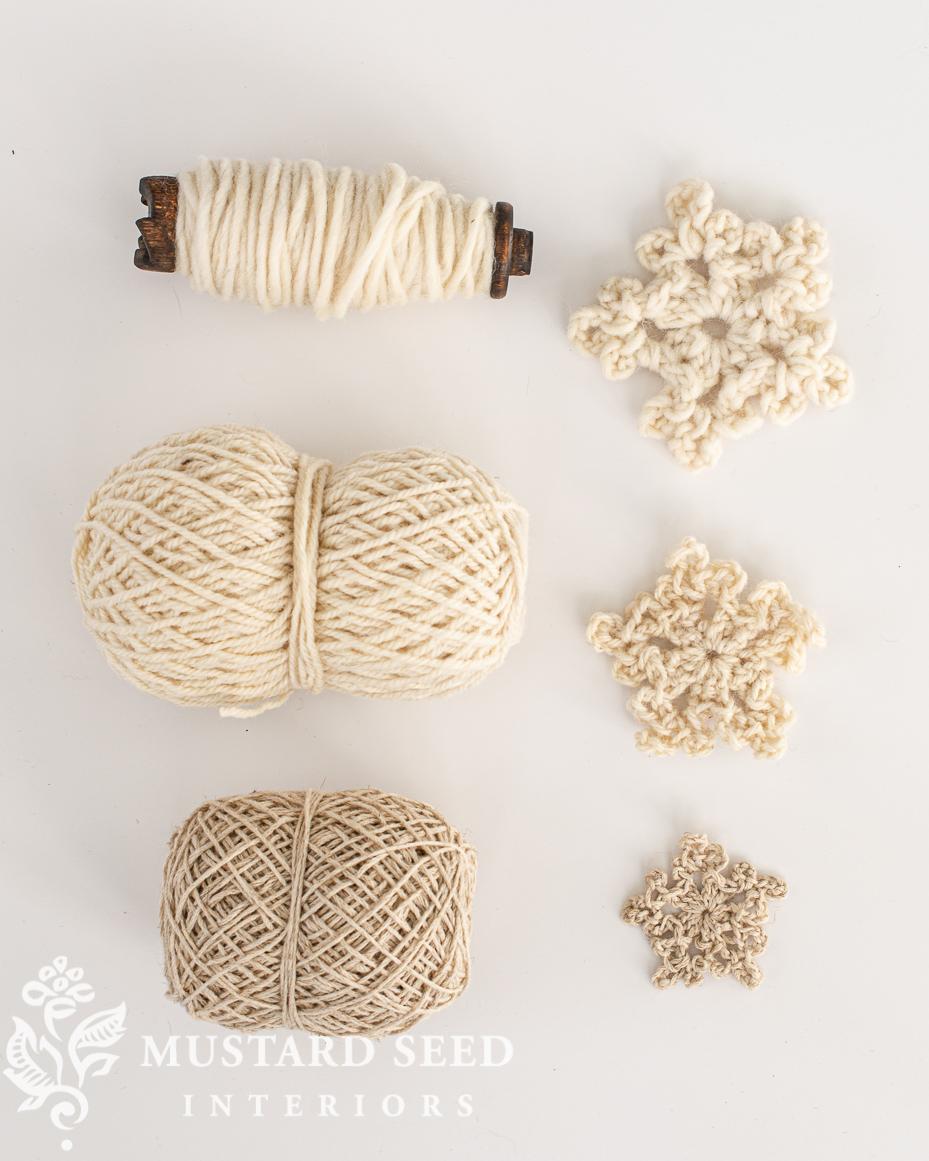 easy chunky crochet snowflake tutorial   yarn sources   miss mustard seed