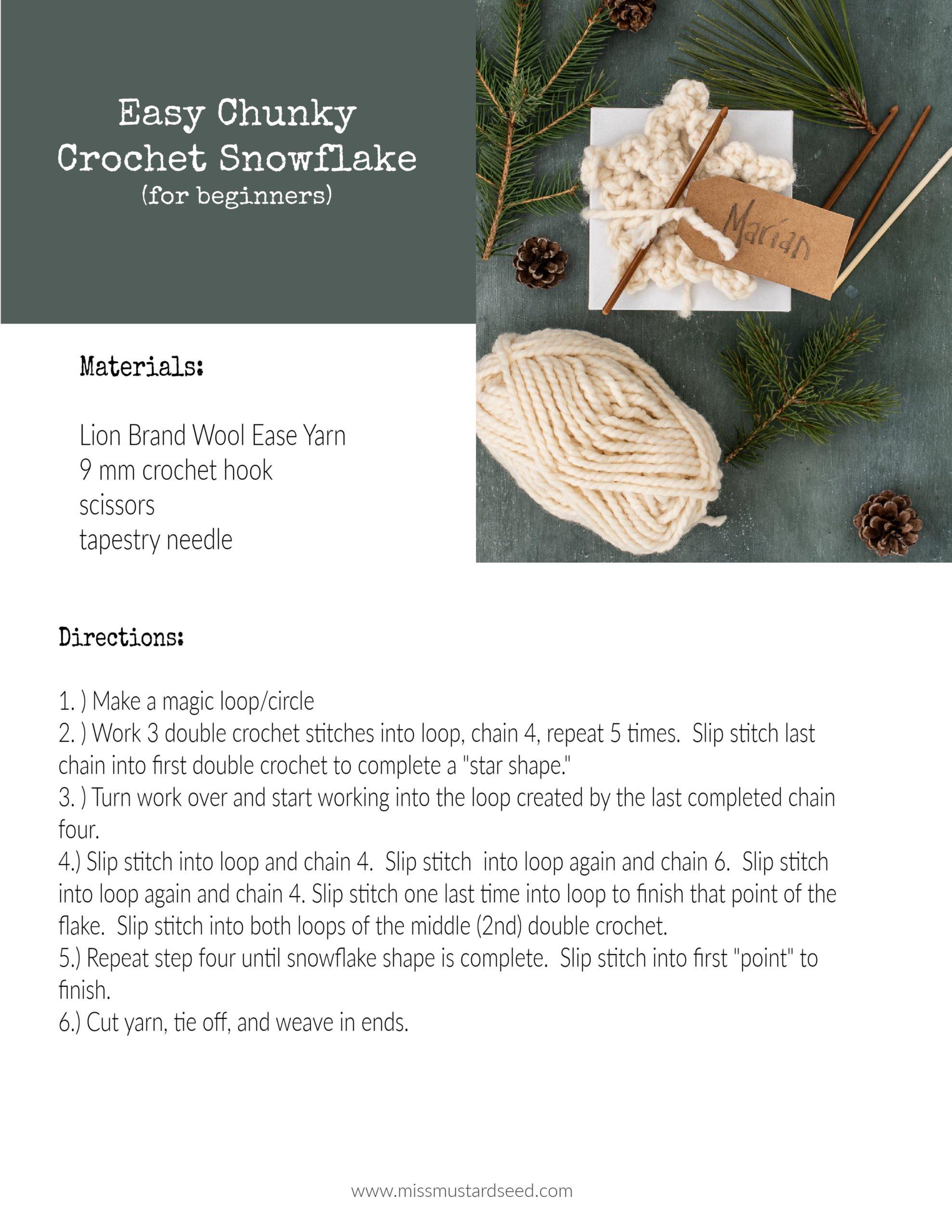 easy chunky crochet snowflake pattern   miss mustard seed