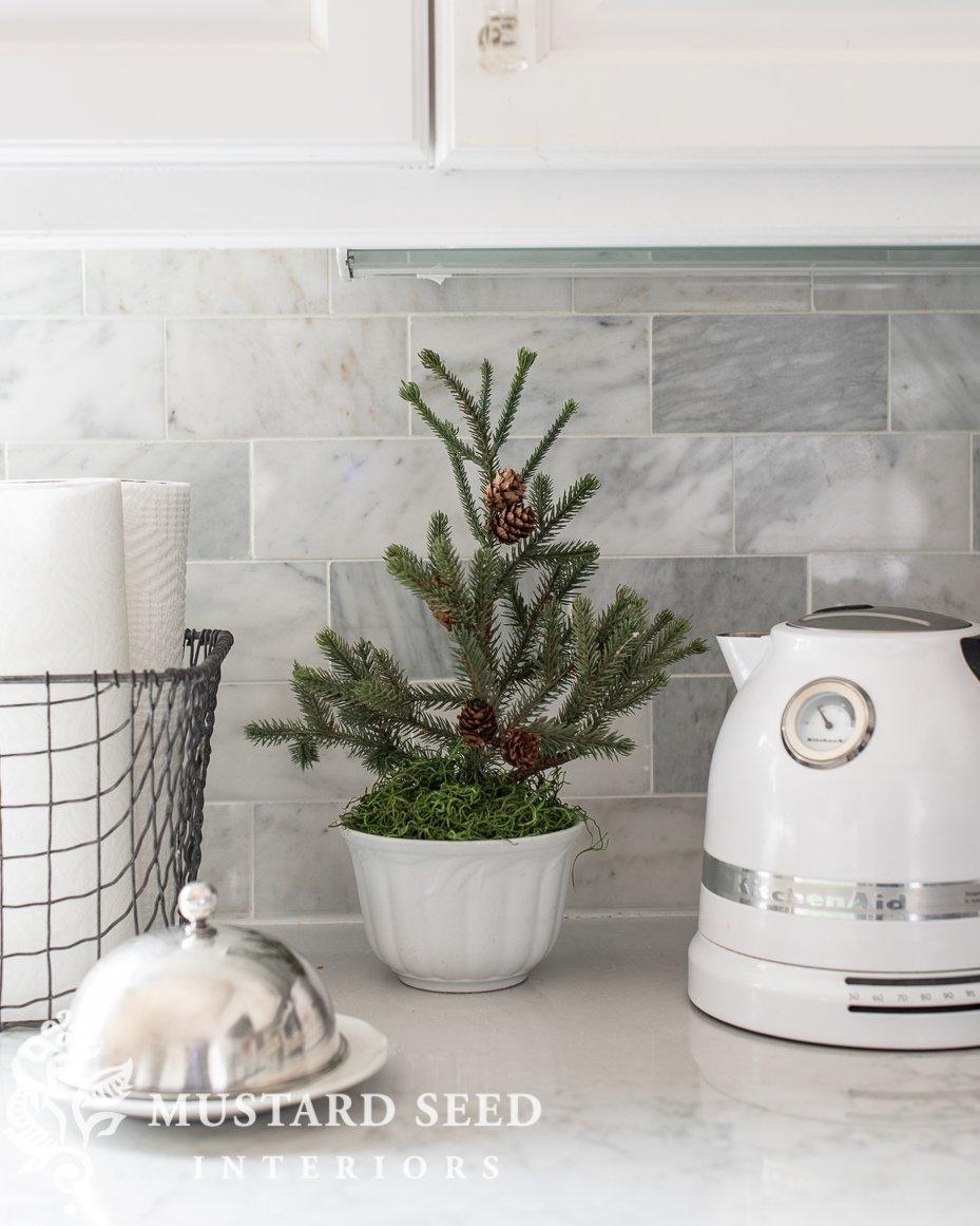 Christmas kitchen   mini faux pine tree   miss mustard seed
