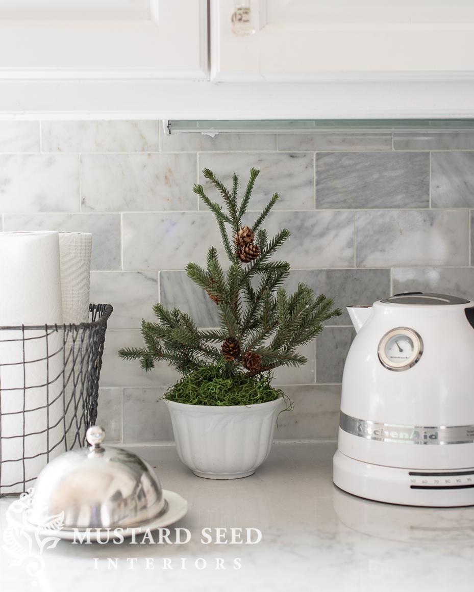 Christmas kitchen | mini faux pine tree | miss mustard seed