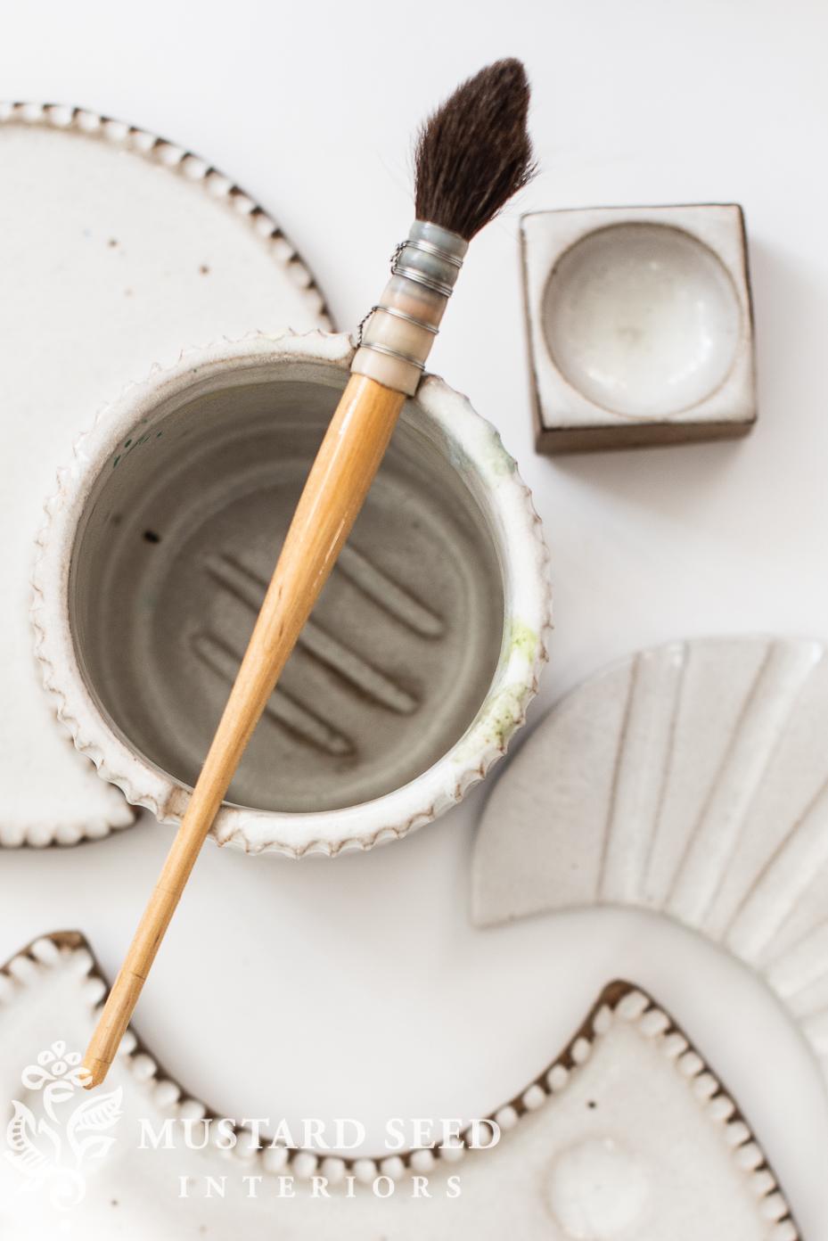 sylvan clay works moon palette set & water cup   miss mustard seed