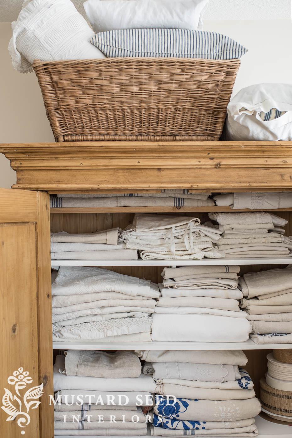 antique pine wardrobe   european linens   miss mustard seed