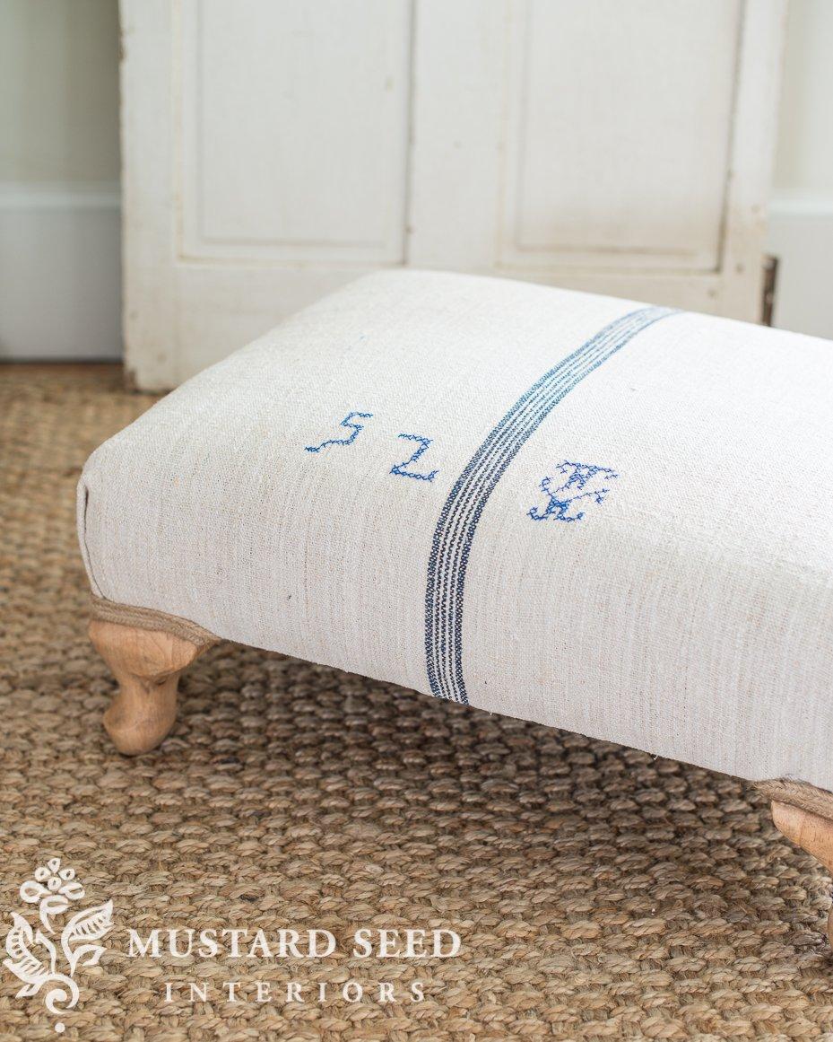 upholstery tips for beginners   grain sack ottoman