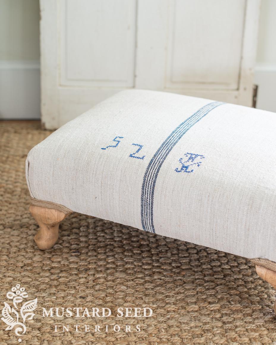 upholstery tips for beginners | grain sack ottoman