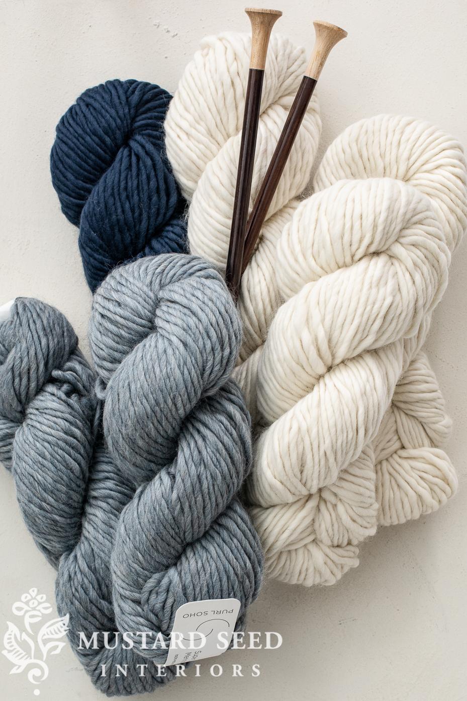 super soft merino wool yarn | blue and white | beginner knitting | miss mustard seed