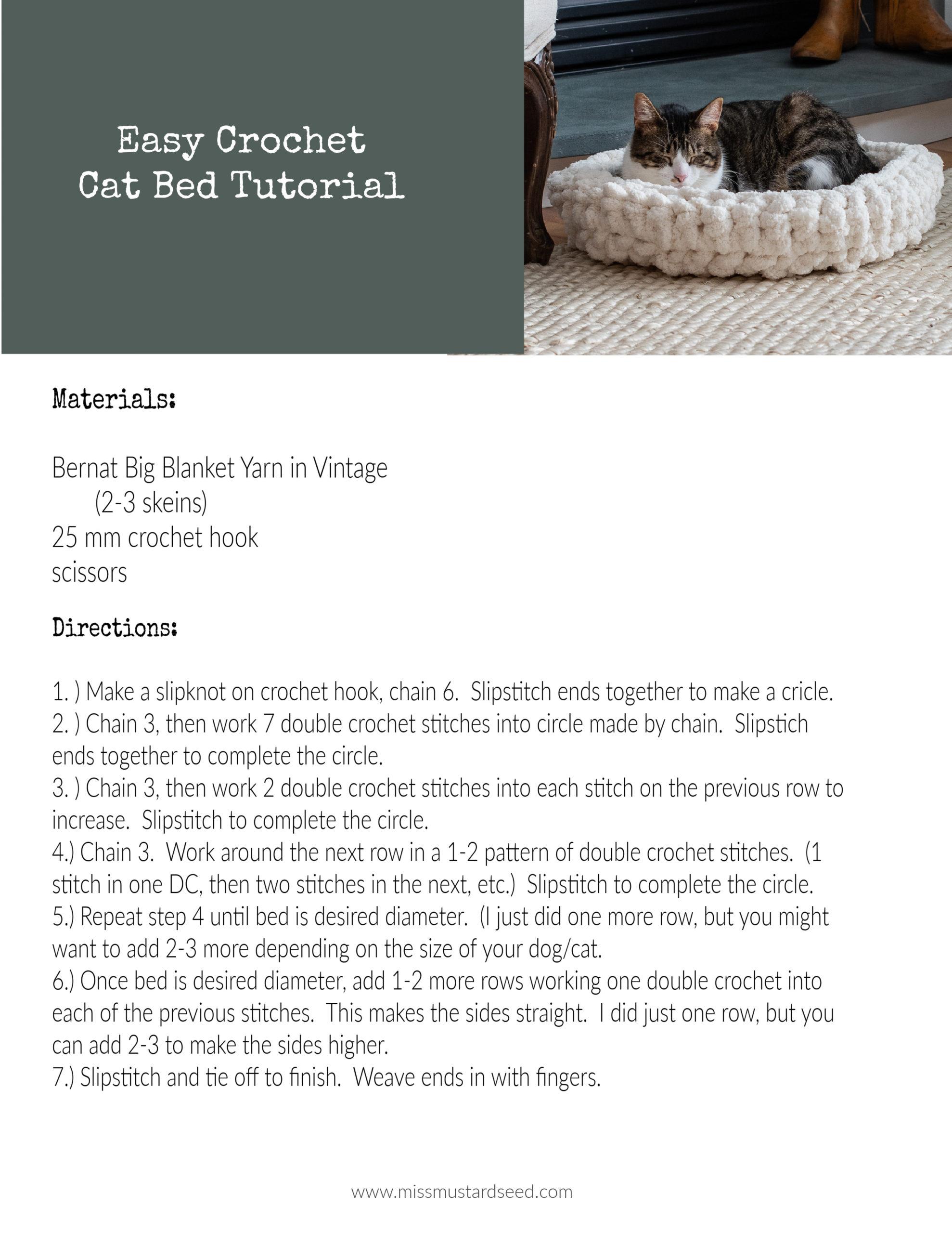 easy free crochet cat bed tutorial & pattern   miss mustard seed