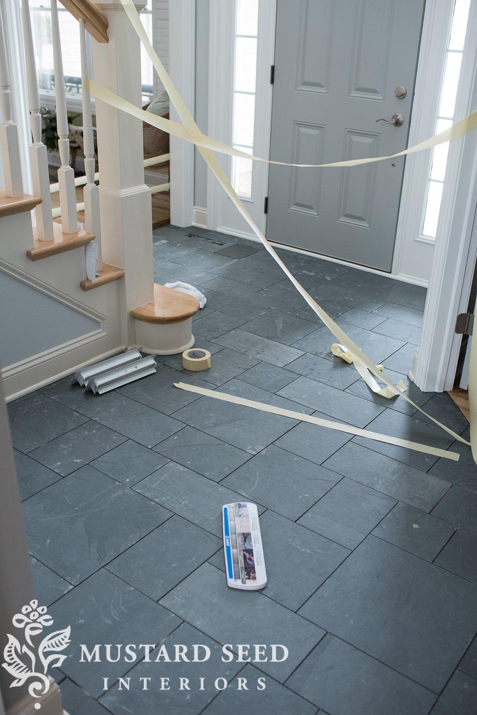 montauk blue slate tile floors | miss mustard seed