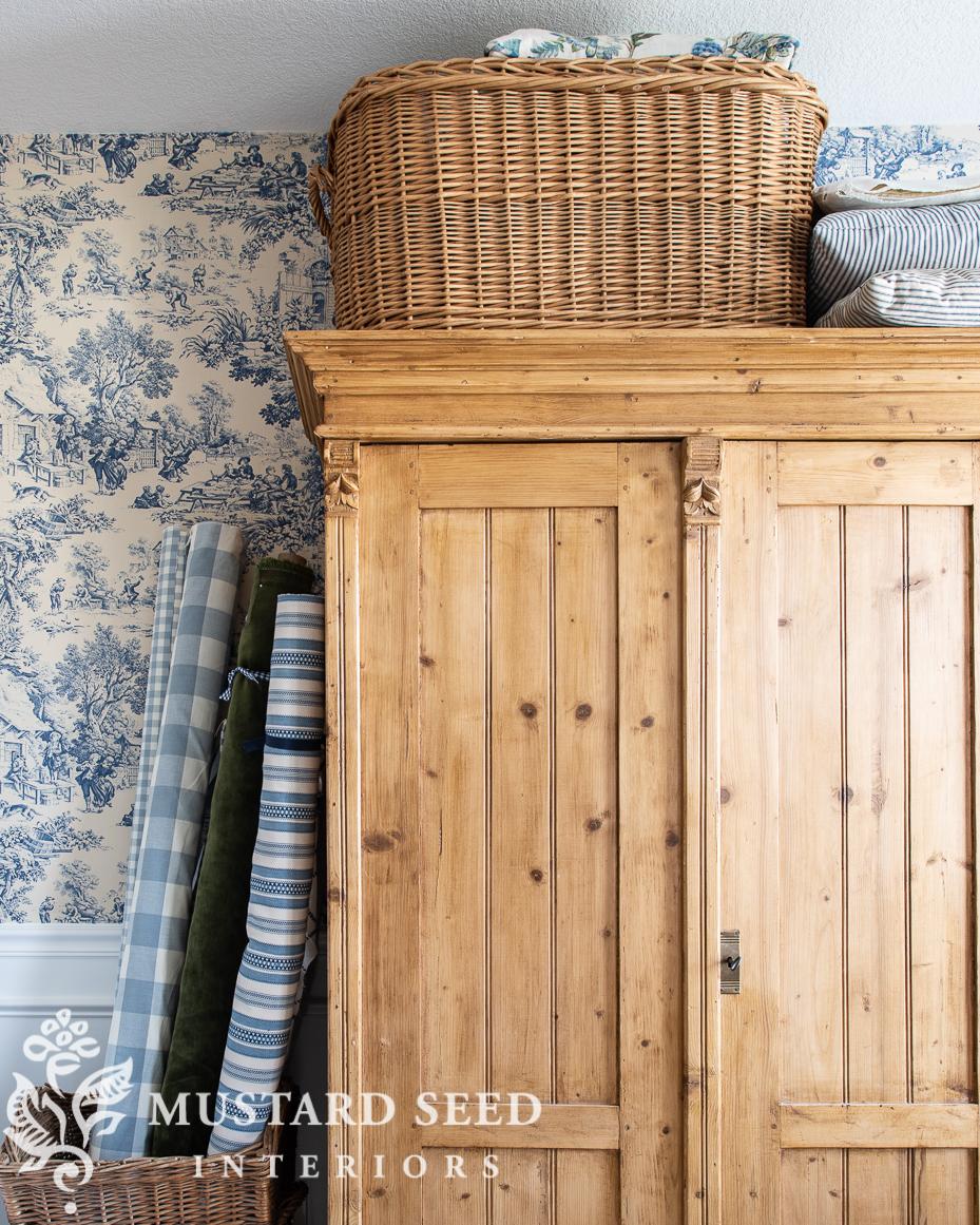 sewing room organization | antique pine wardrobe | miss mustard seed