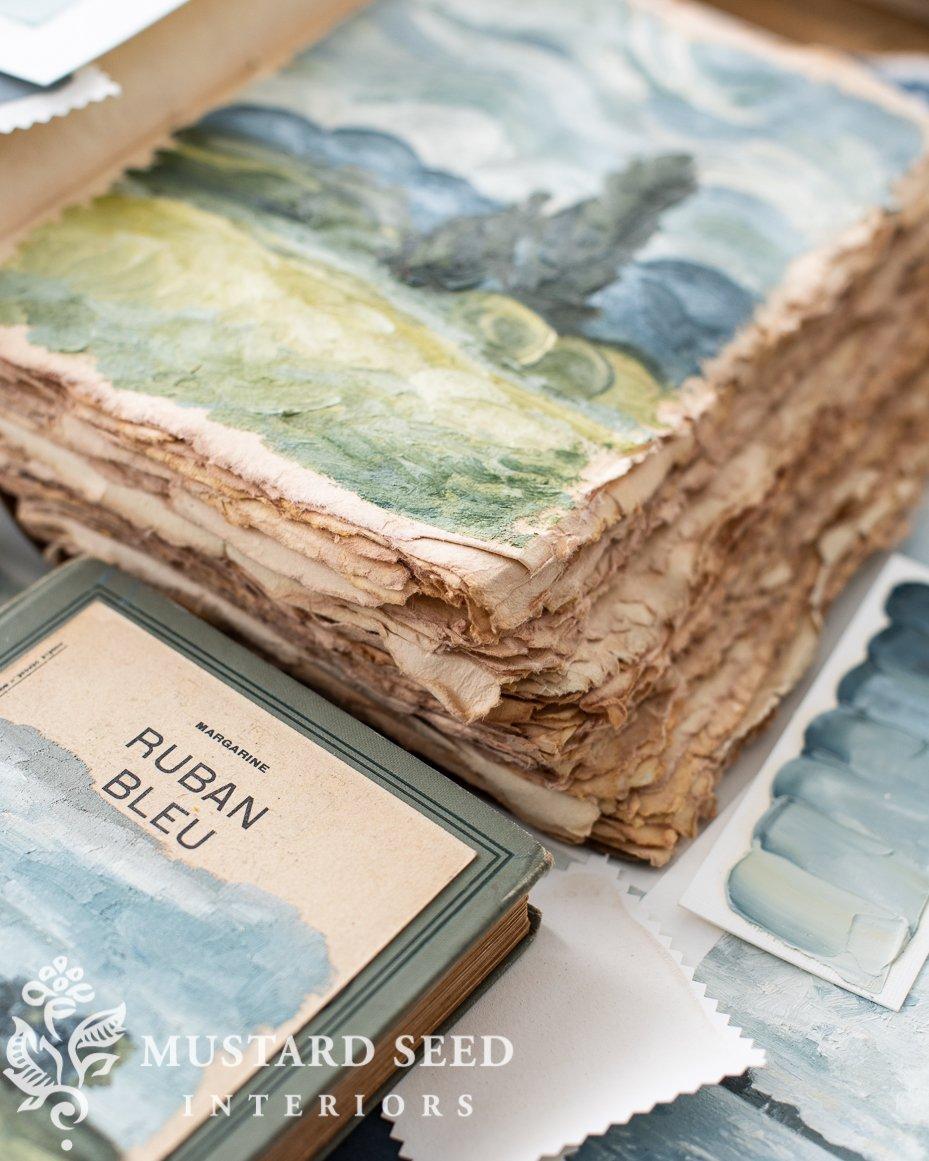 sketchbook tour | deckled edge sketchbook | oil paint | blue and green | miss mustard seed