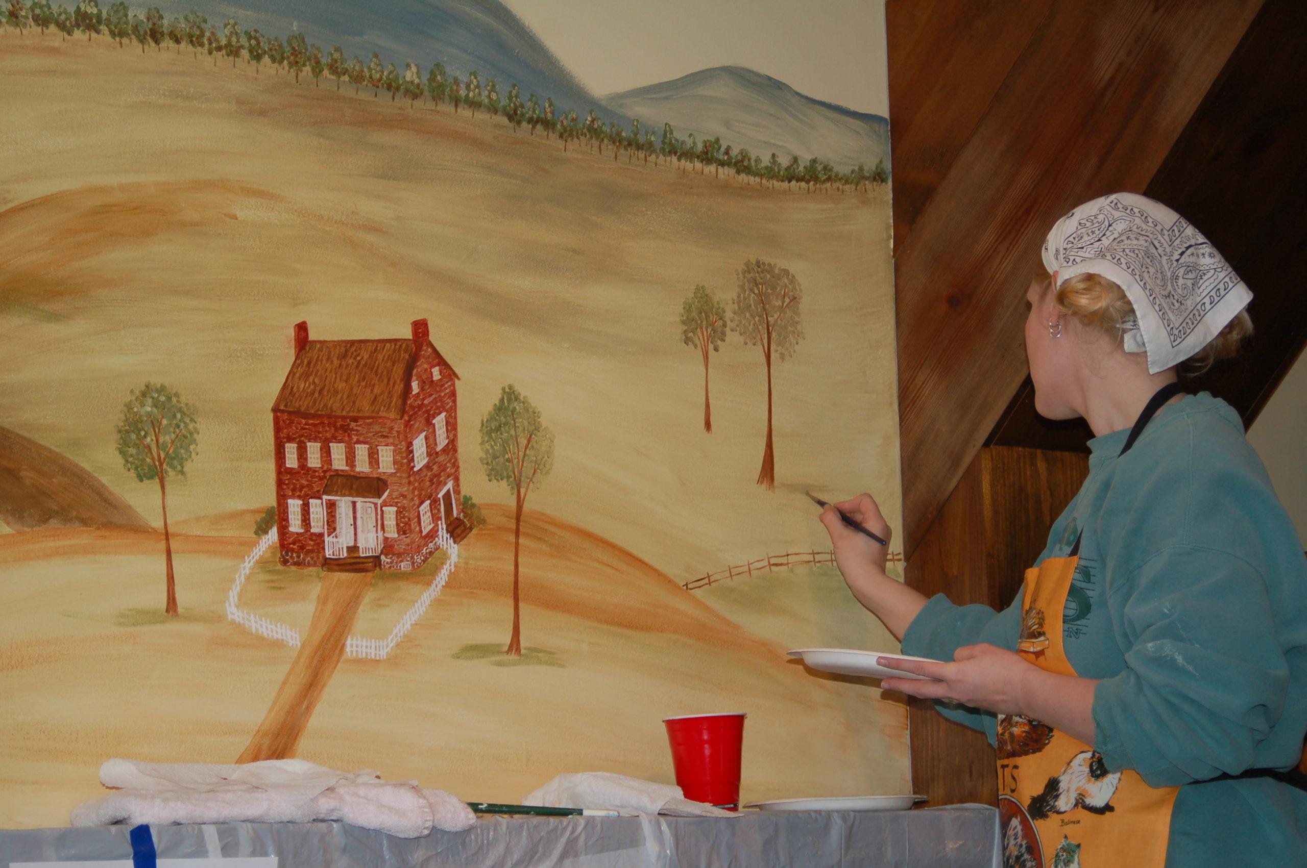 rufus porter style mural   civil war hospital   miss mustard seed