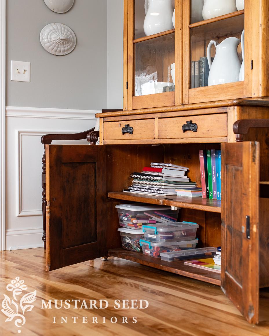 school supplies | antique hutch | organizing | miss mustard seed