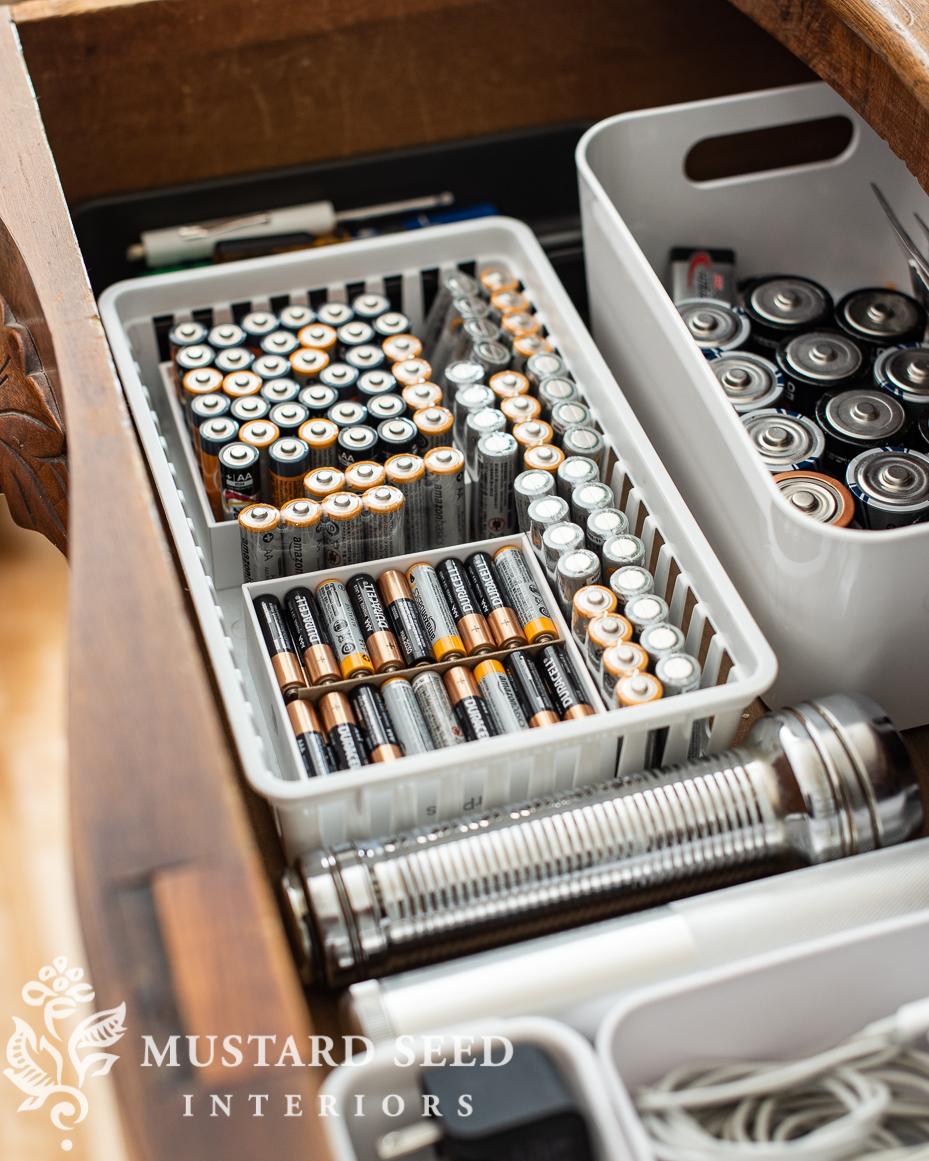 organizing process | battery drawer | miss mustard seed