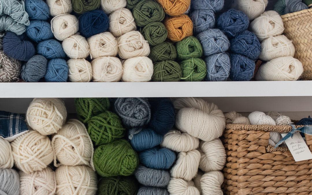 organizing the studio | sorting the yarn