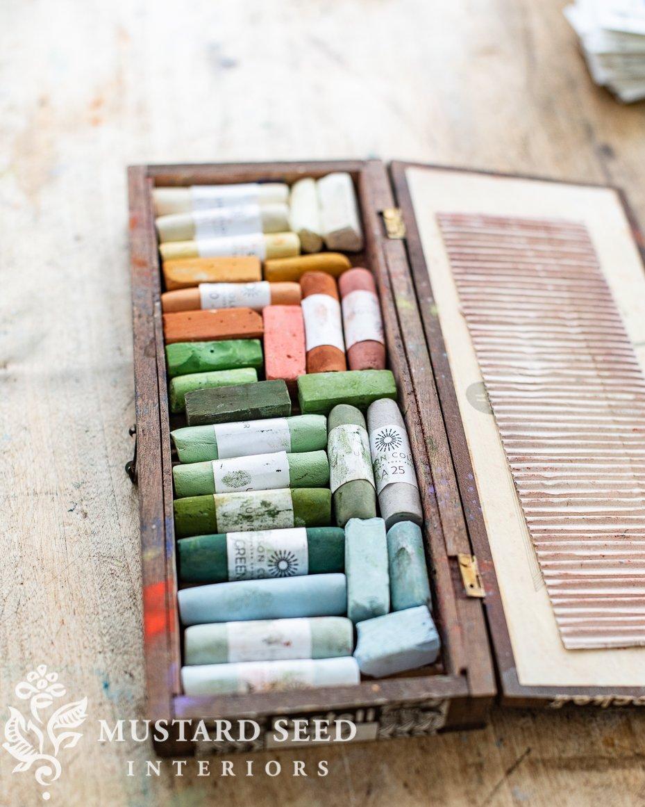 organizing an art studio | miss mustard seed | vintage pastel box