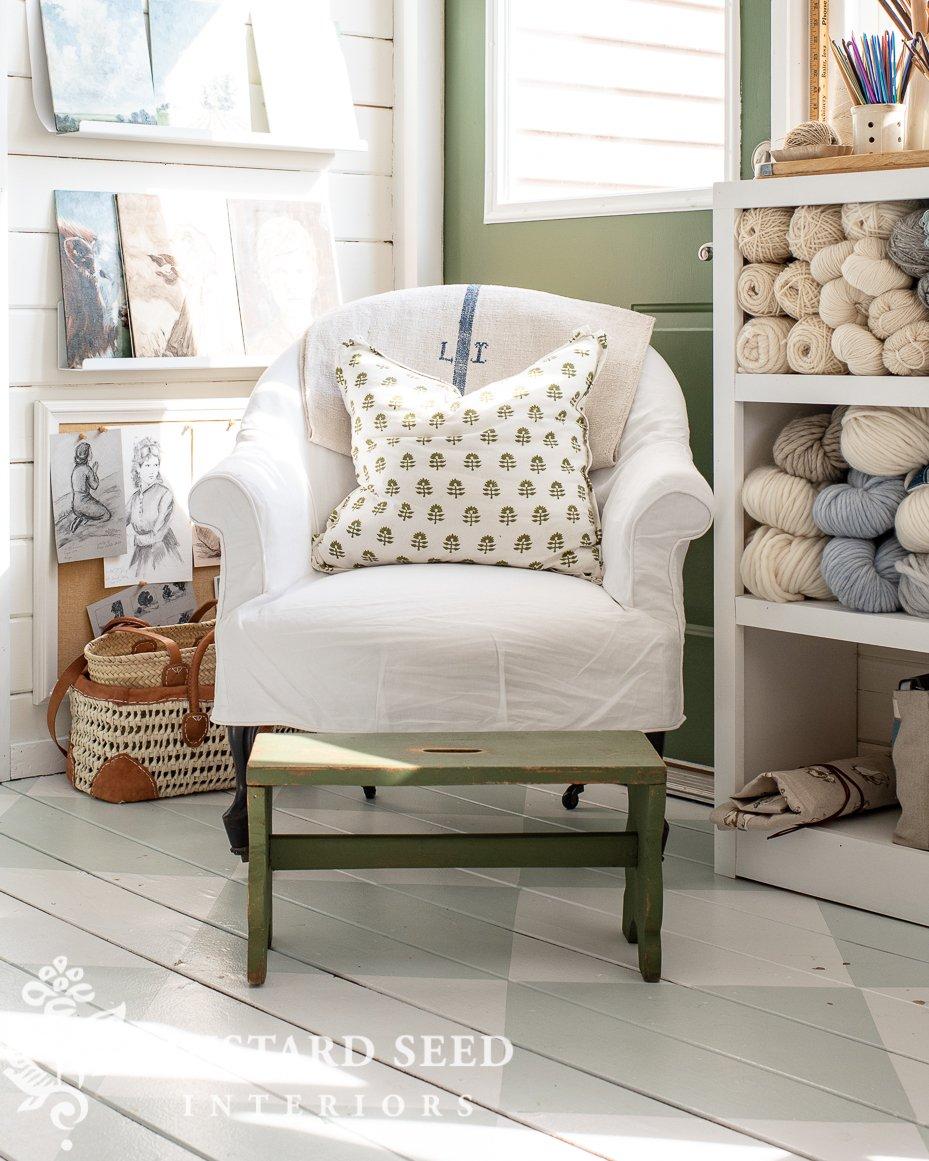 barrel back french chair | linen slipcover | dreamy whites | art studio | miss mustard seed