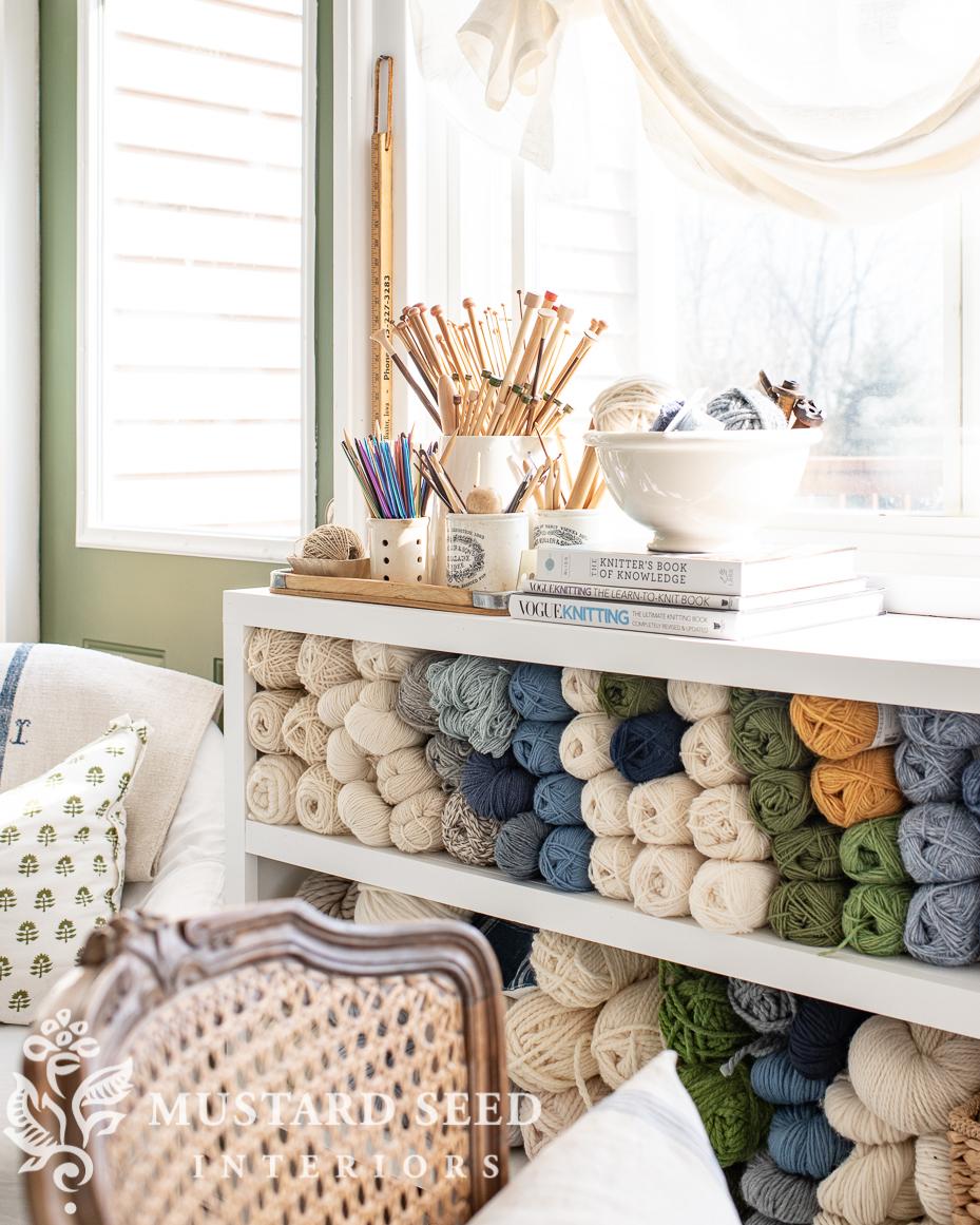 yarn organization | art studio | craft room | knitting supplies | miss mustard seed
