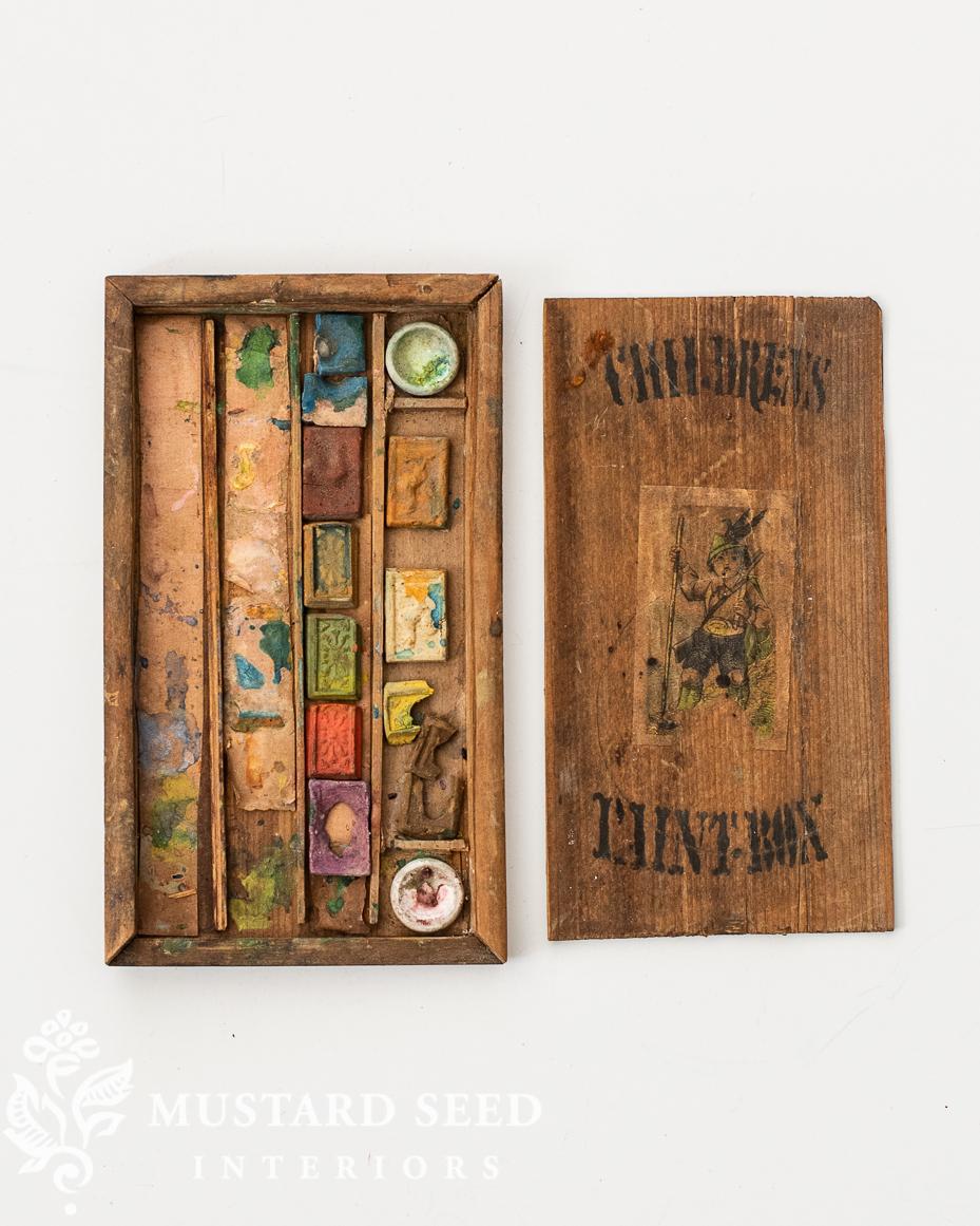 used art supply sale   vintage child's paint box   miss mustard seed