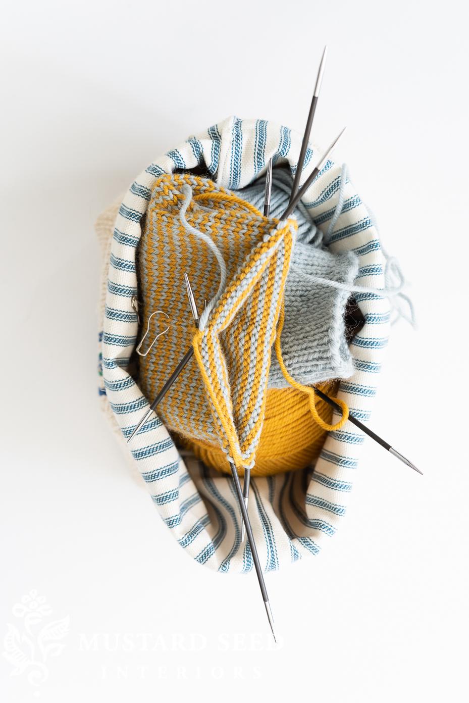 knitting socks | project bag | miss mustard seed