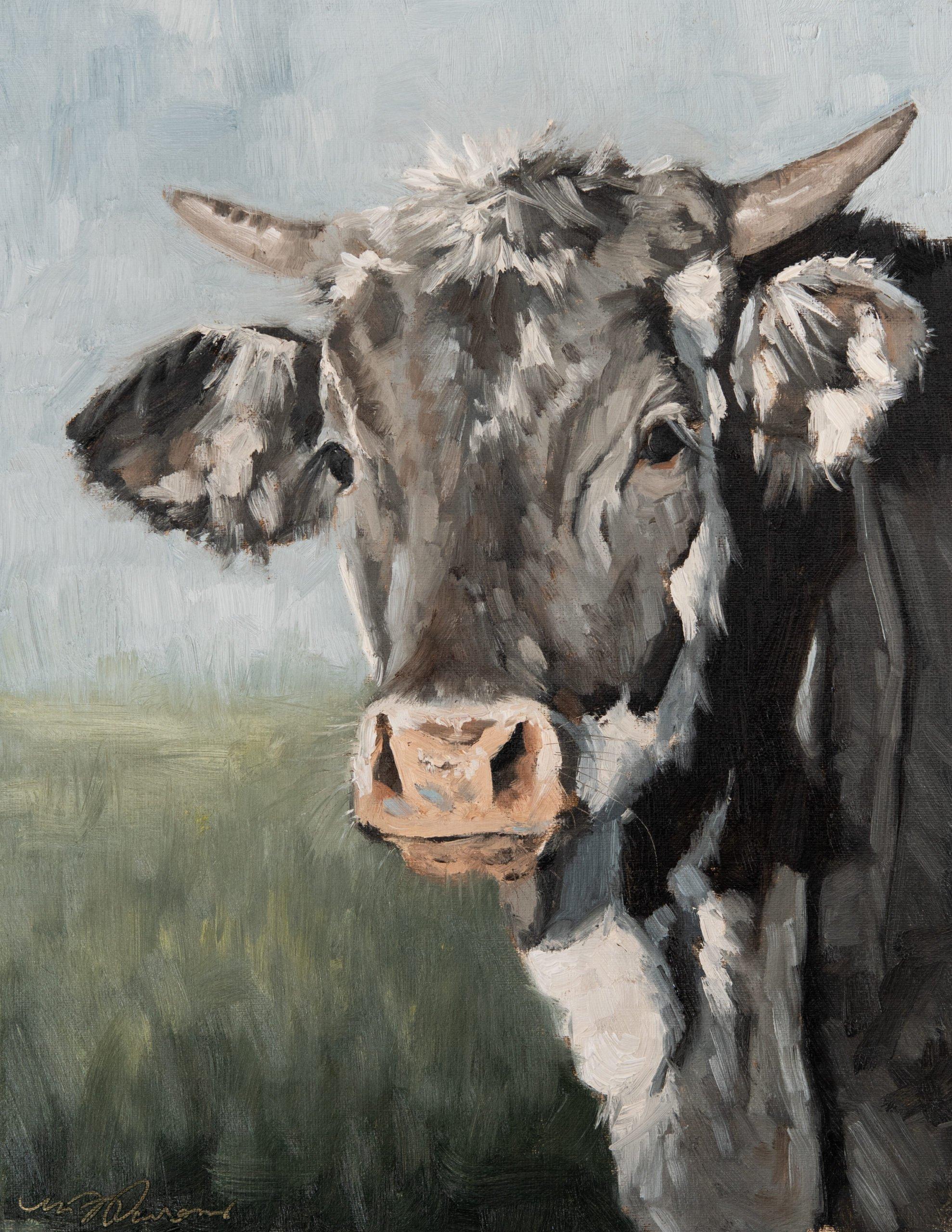 original oil cow portrait painting | miss mustard seed