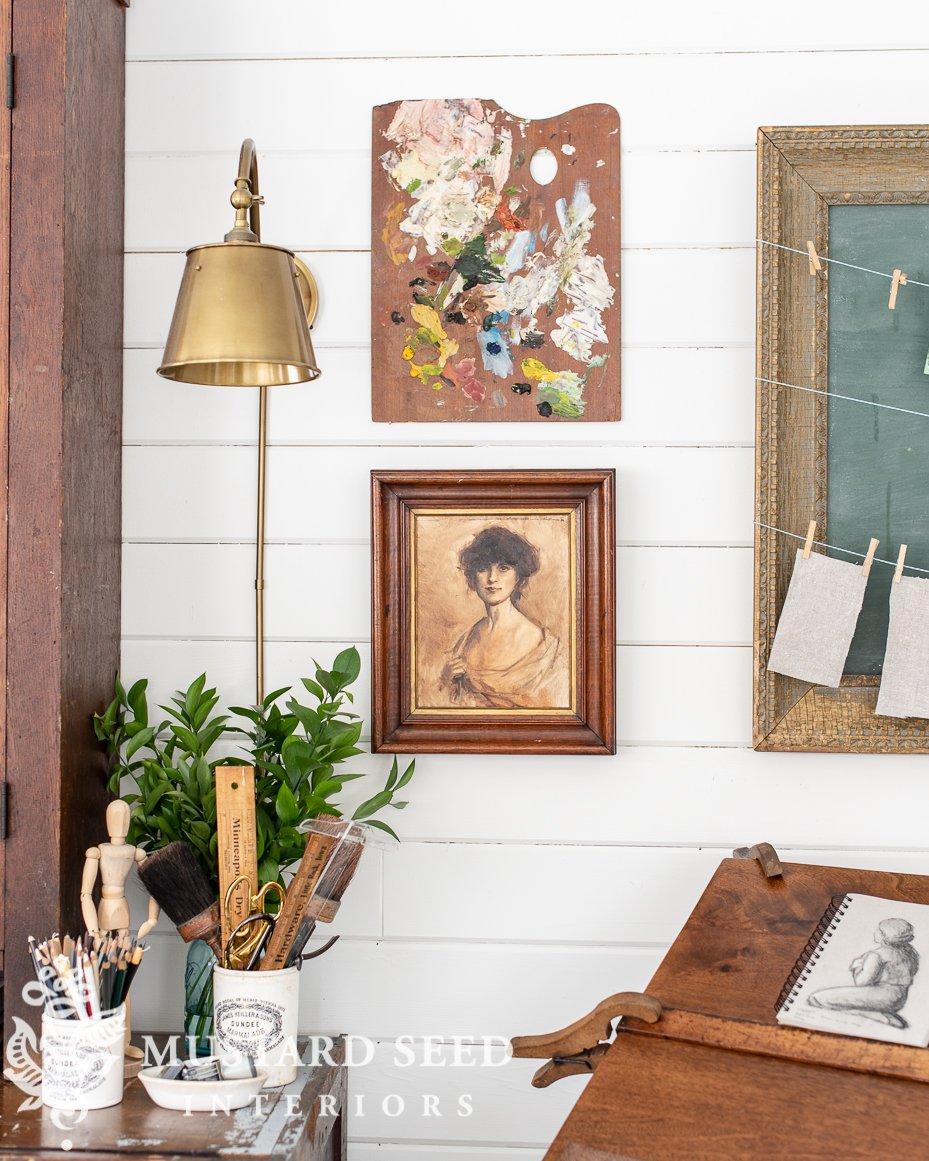 art studio | antique palette | feels like home book | miss mustard seed