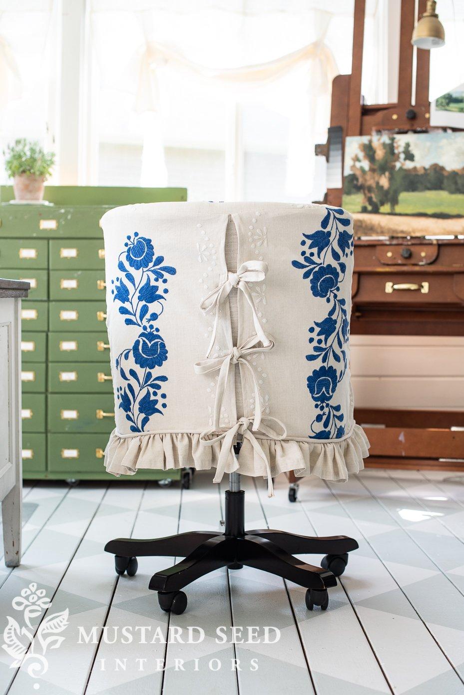 antique hemp sheet upholstery | office chair slipcover | miss mustard seed