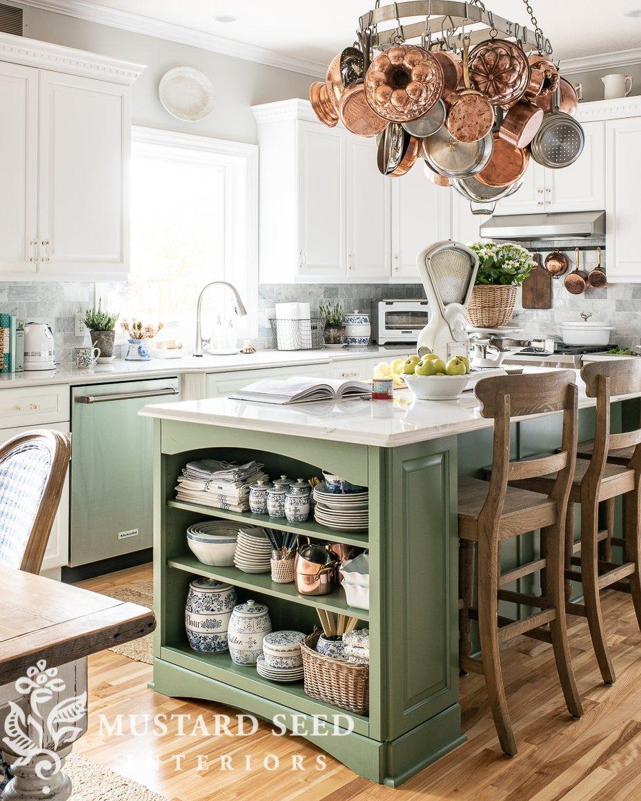 suburban kitchen | painted cabinets| green island | pot rack | miss mustard seed