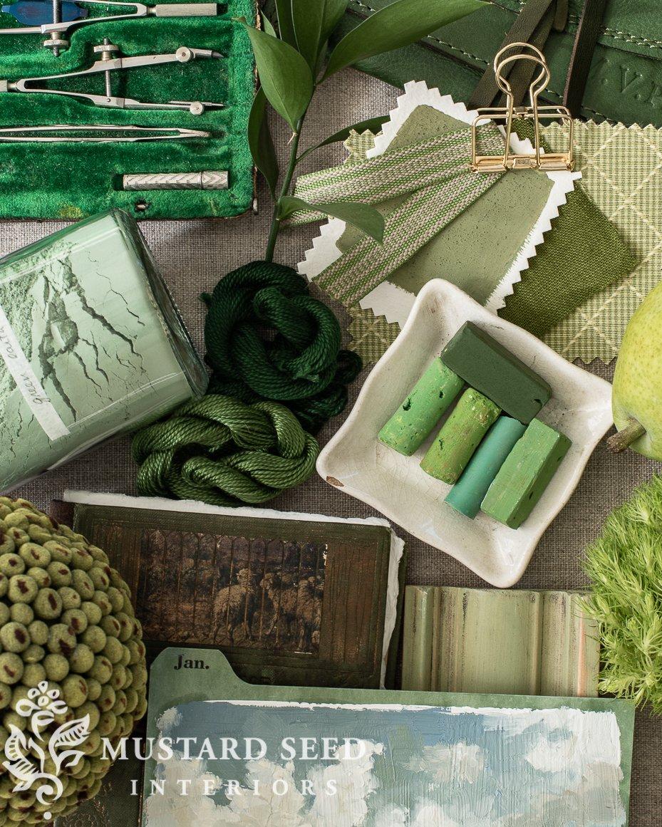 green living mood board | miss mustard seed