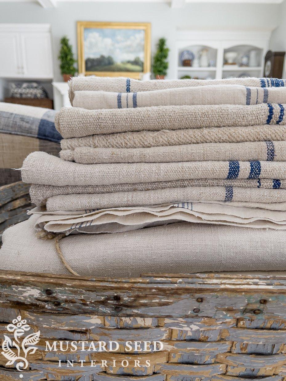 antique hemp sheet & european grain sack upholstery | miss mustard seed