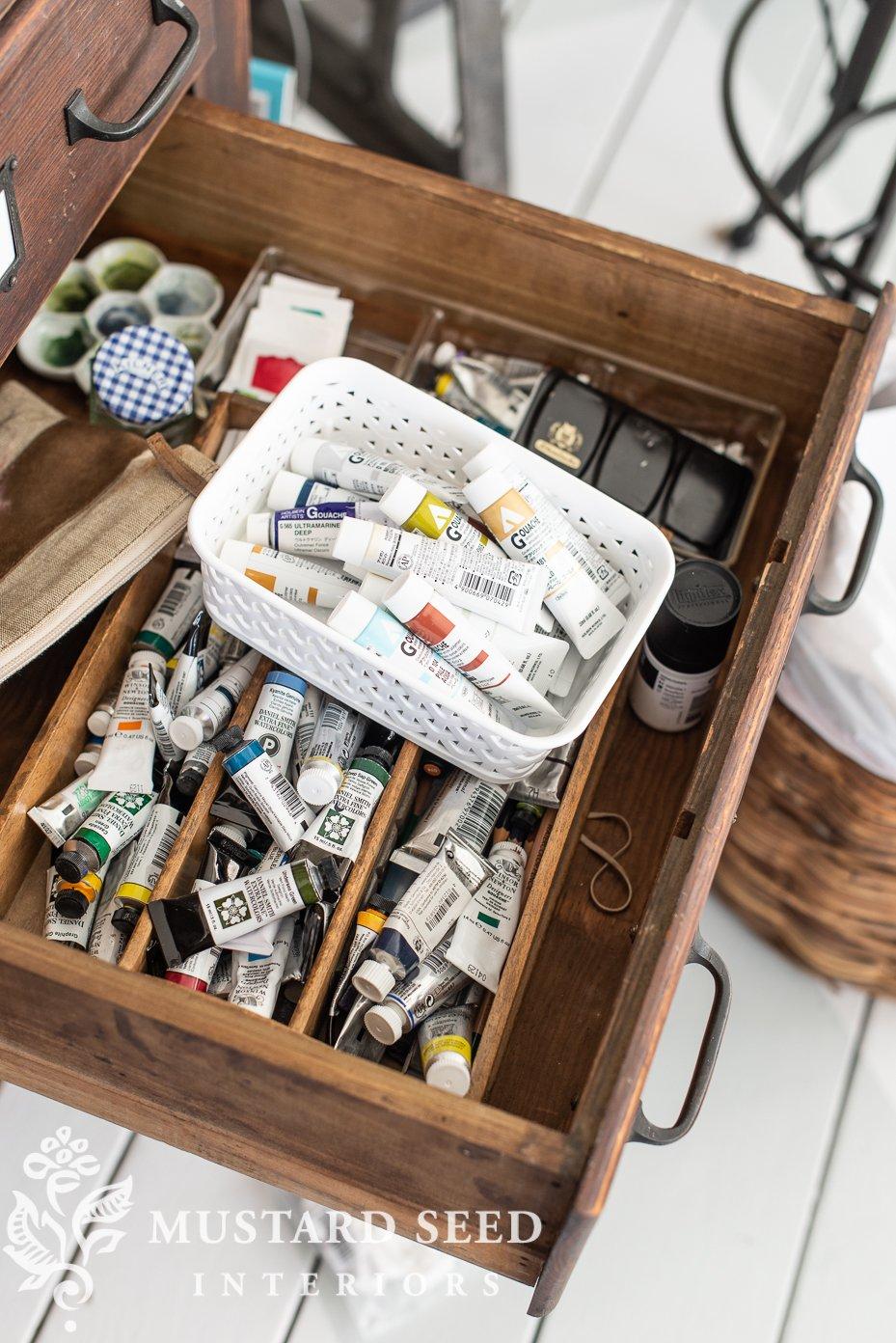 messy watercolor drawer | art studio | miss mustard seed