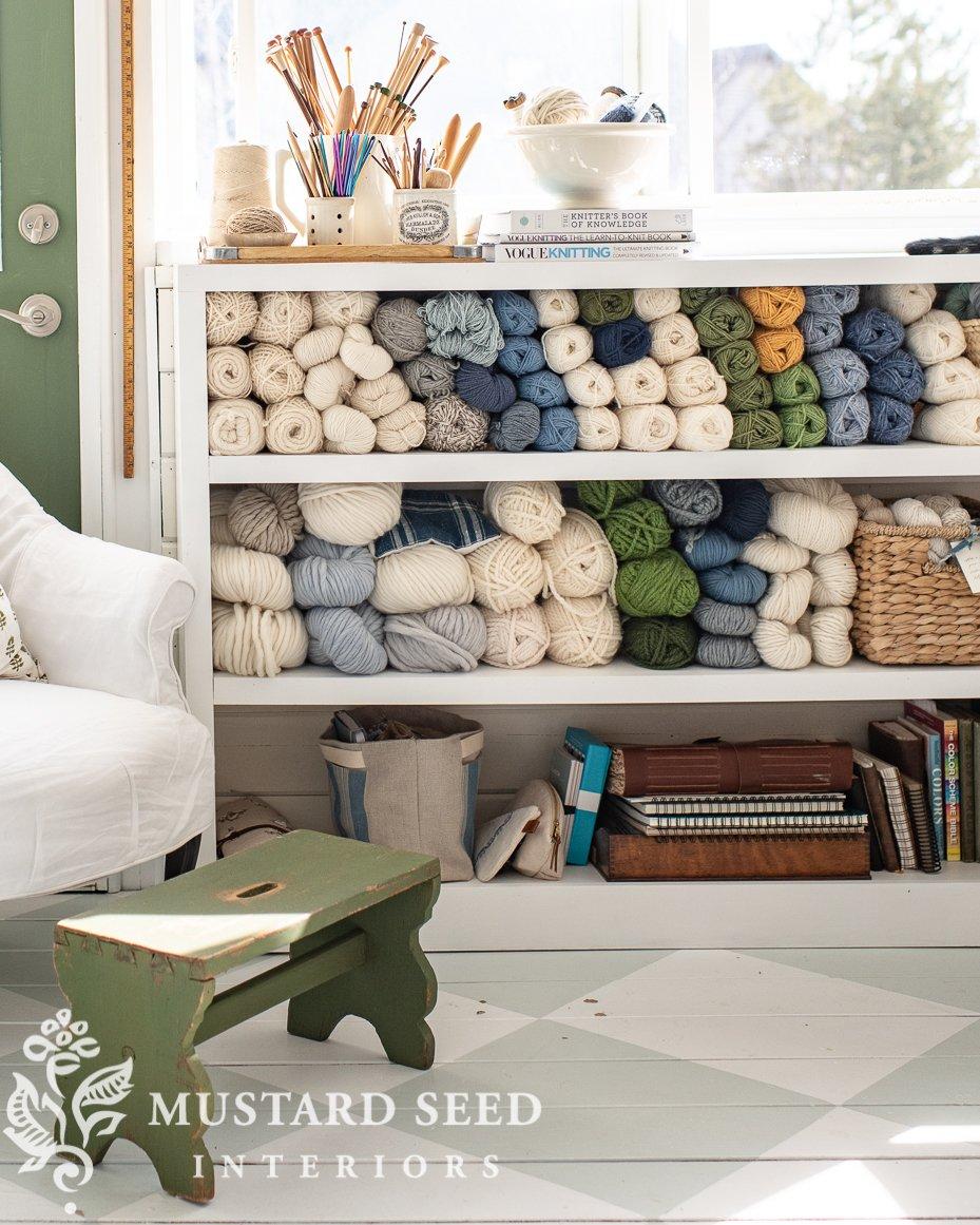 art studio | yarn storage | DIY built-in shelf | miss mustard seed