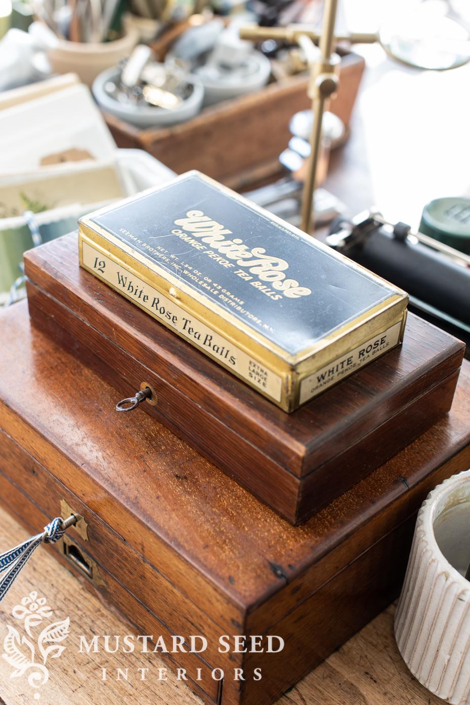 antique white rose tea box | miss mustard seed