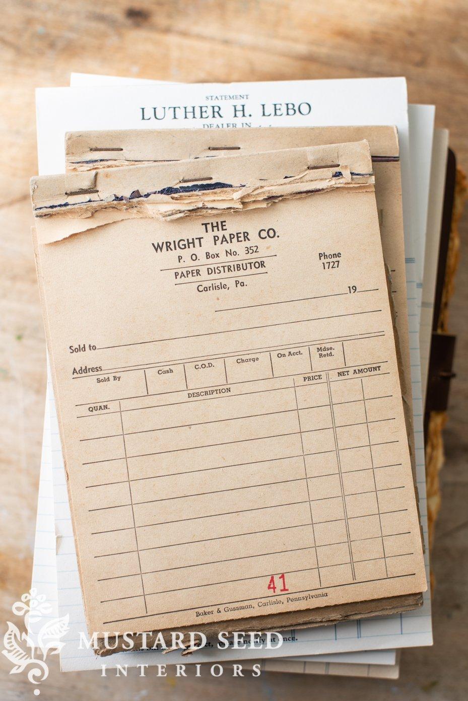 vintage receipt pads | miss mustard seed