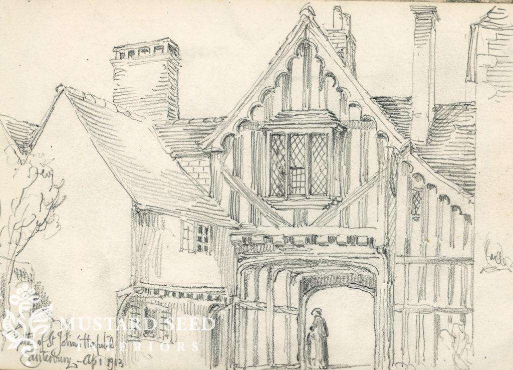 George Herbert Kitchin | Sketch of St John's Hospital Gate, Canterbury | miss mustard seed