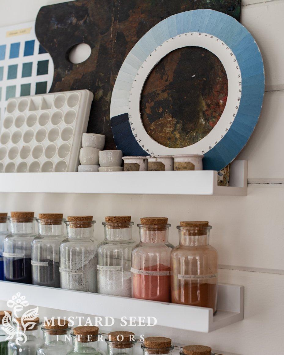 art studio shelves | pigments | cyanometer