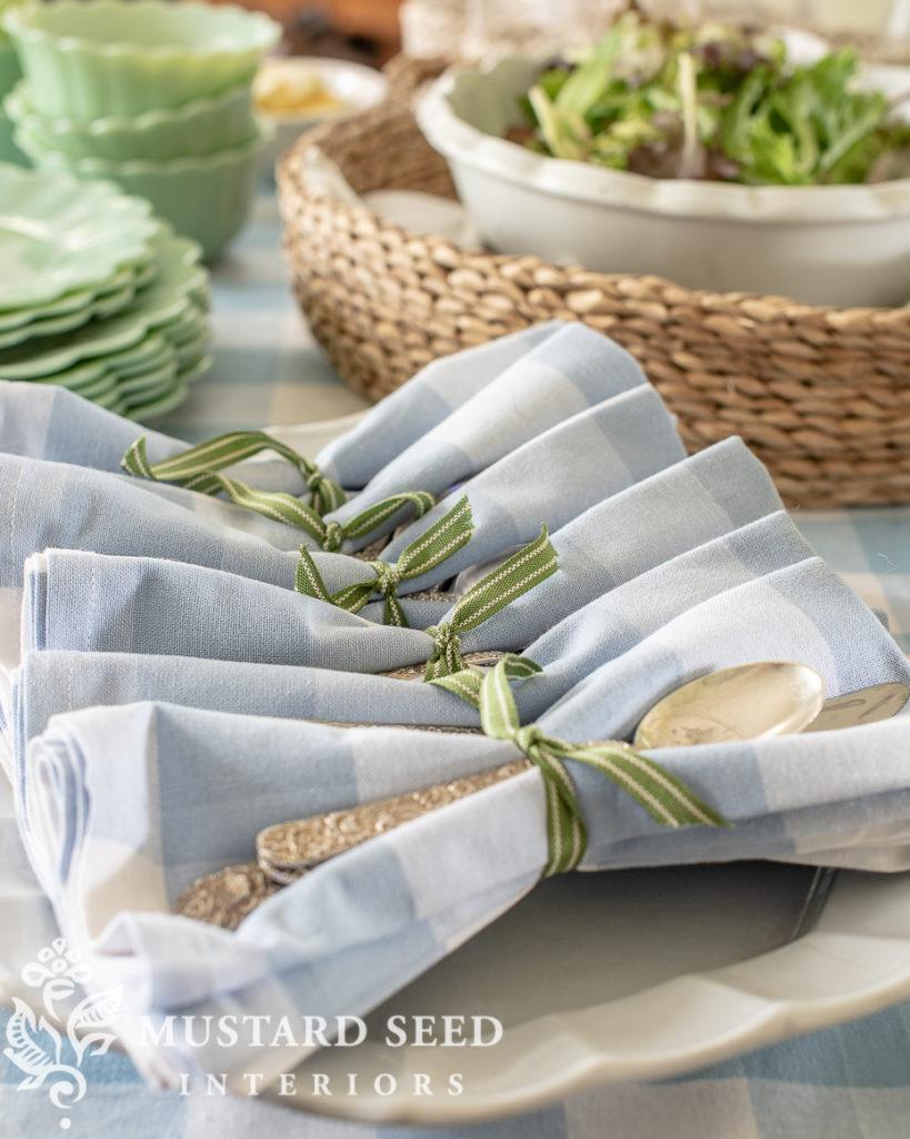 summer buffet table with Walmart | silverware bundles | miss mustard seed