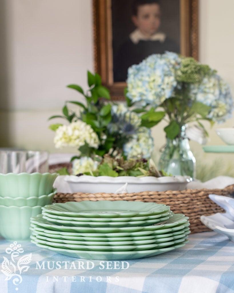 summer buffet table with Walmart | Pioneer Woman jade plates | miss mustard seed