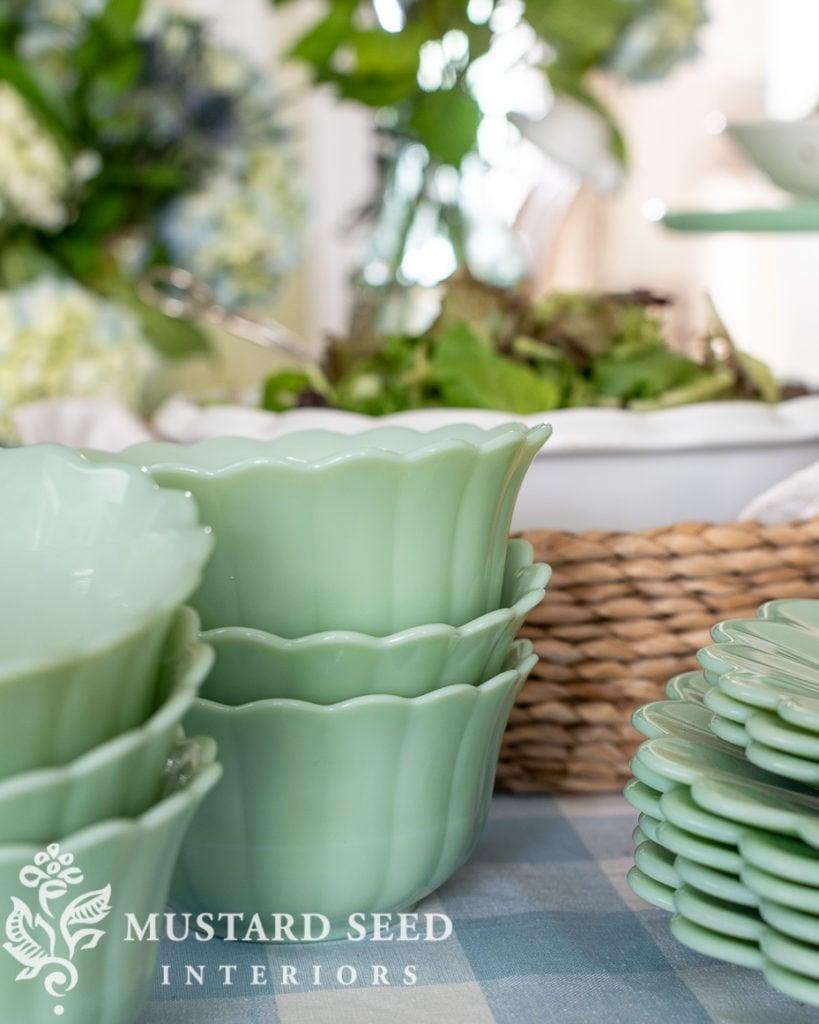 summer buffet table with Walmart | pioneer woman jade bowls | miss mustard seed