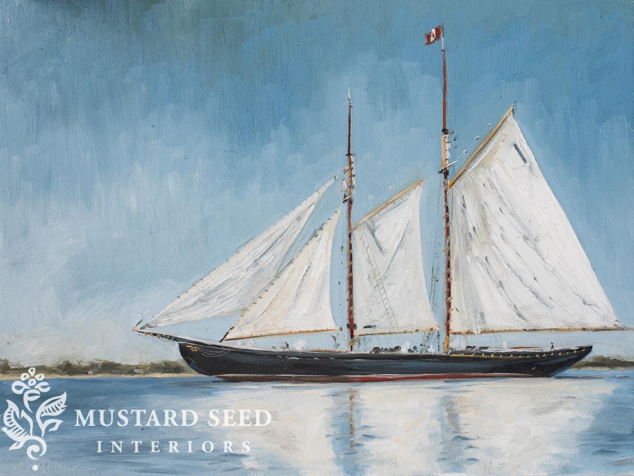 original oil painting | blue nose II schooner | miss mustard seed