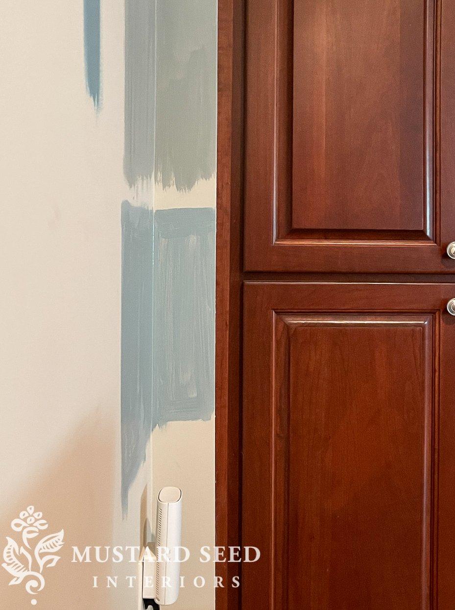 basement family room design | paint samples | miss mustard seed