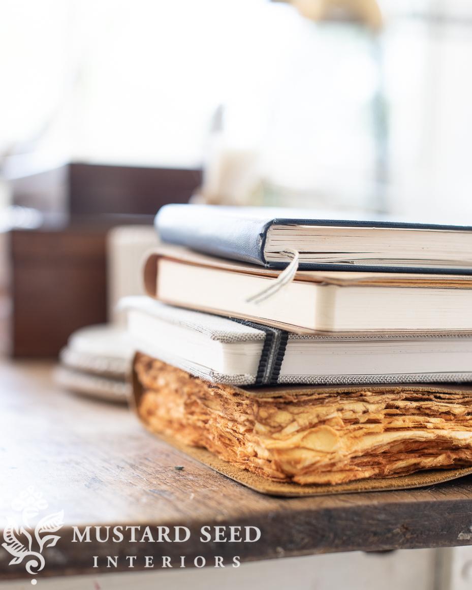 stack of sketchbooks | art studio | miss mustard seed
