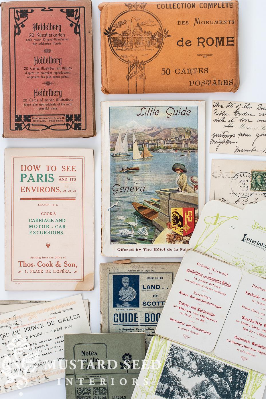 antique travel brochures   organizing   miss mustard seed