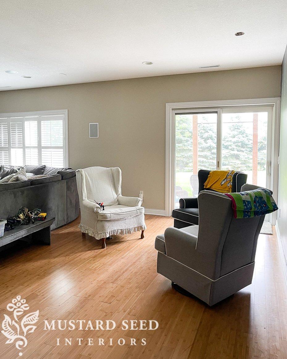 basement family room makeover progress | miss mustard seed