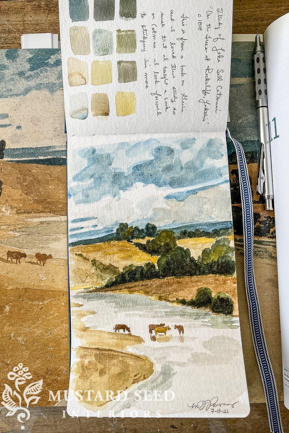sketchbook tour | john sell cotman watercolor study | miss mustard seed