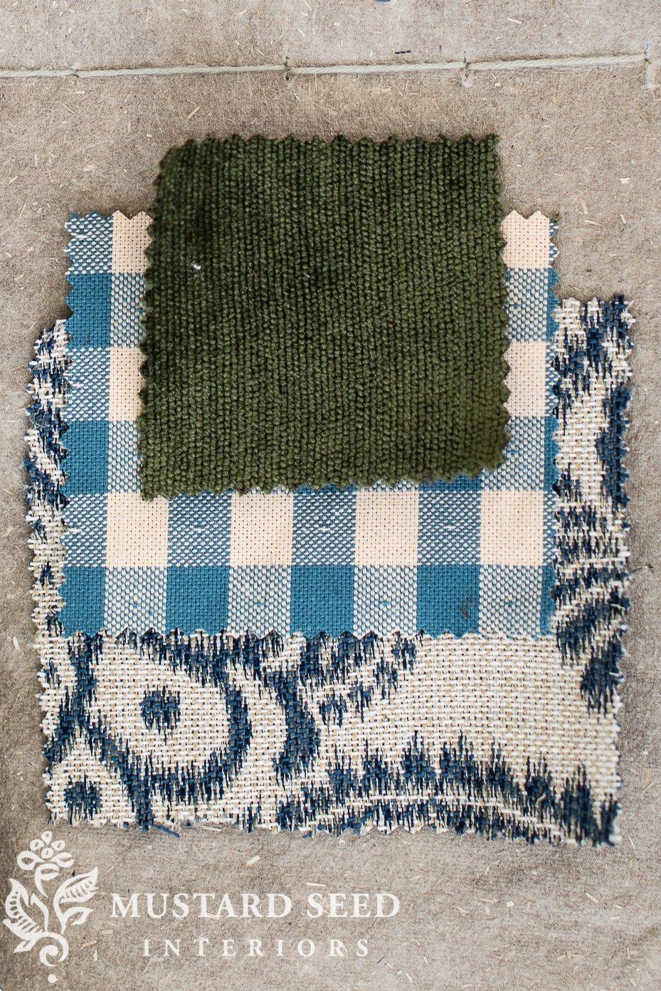 basement family room makeover fabrics | miss mustard seed