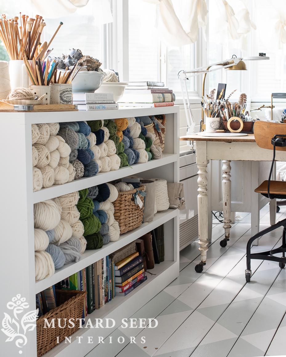 art studio   yarn storage   organization   miss mustard seed