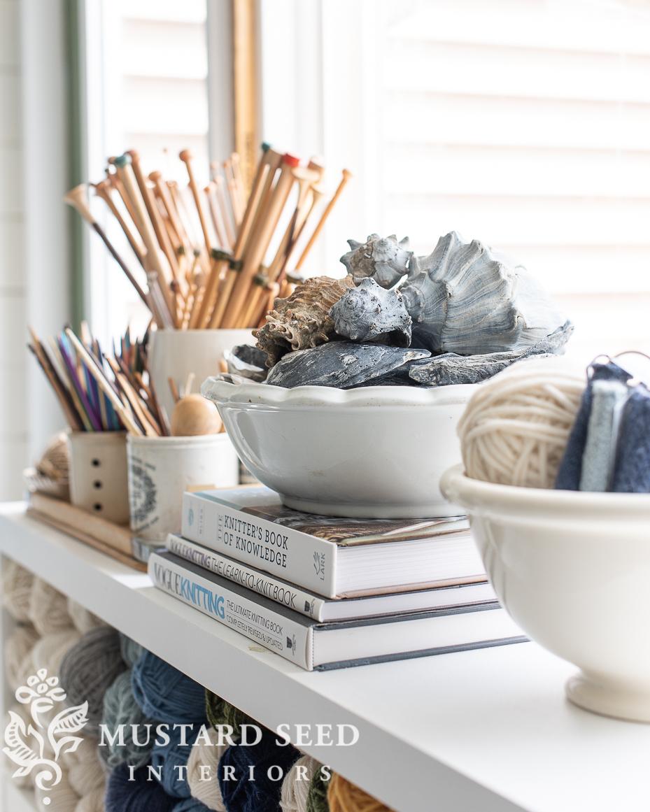 art studio   ironstone bowls   knitting needle storage   seashells   miss mustard seed