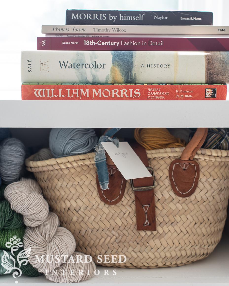 art studio shelf   yarn storage   art book library   miss mustard seed