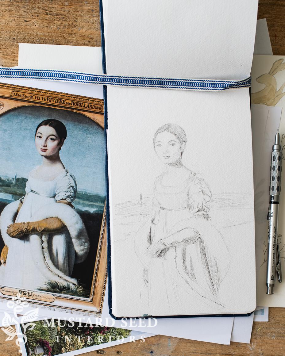 art studio   sketchbook   study of louvre painting   miss mustard seed