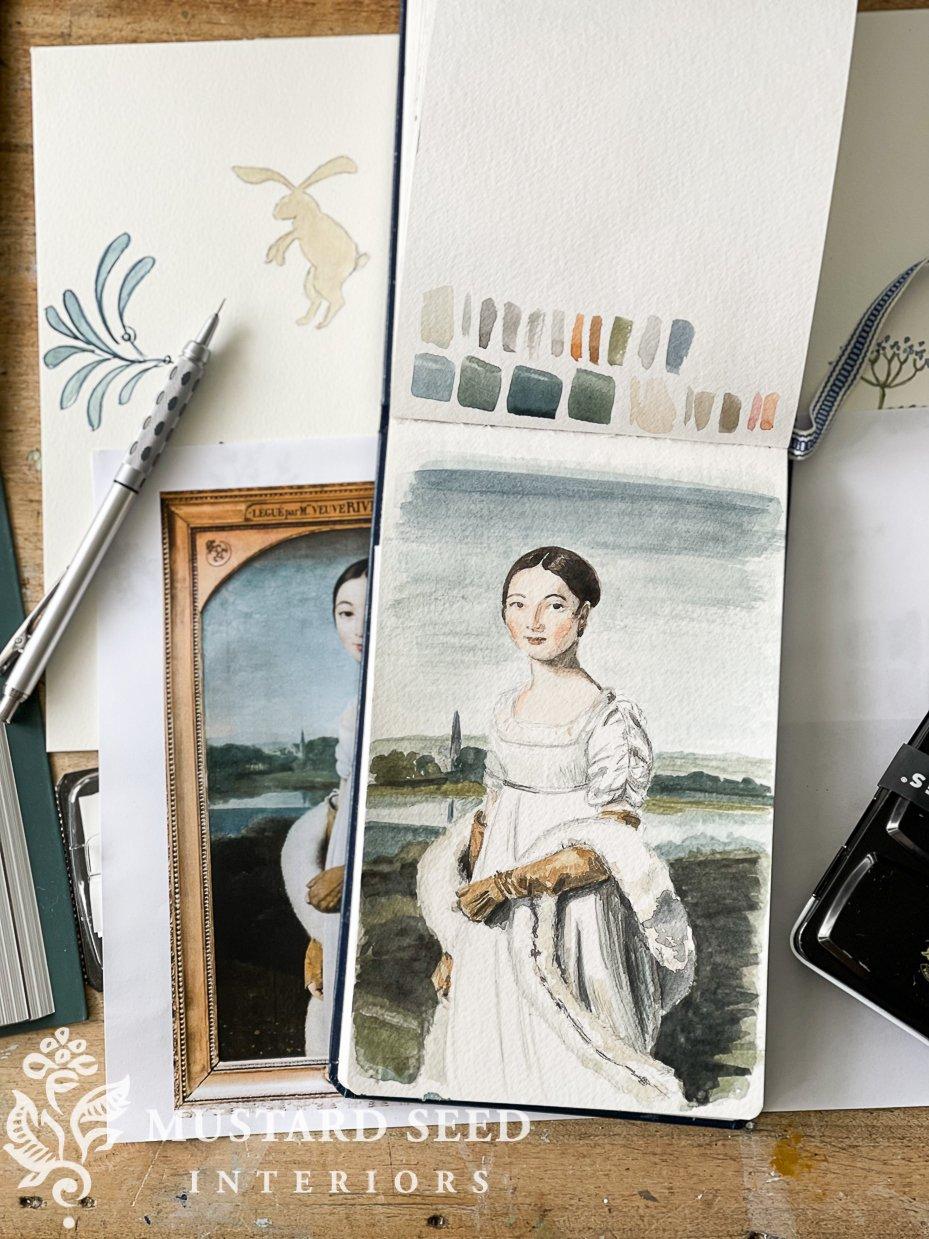 watercolor tutorial   master study of Mademoiselle Caroline Rivière by Ingres   miss mustard seed