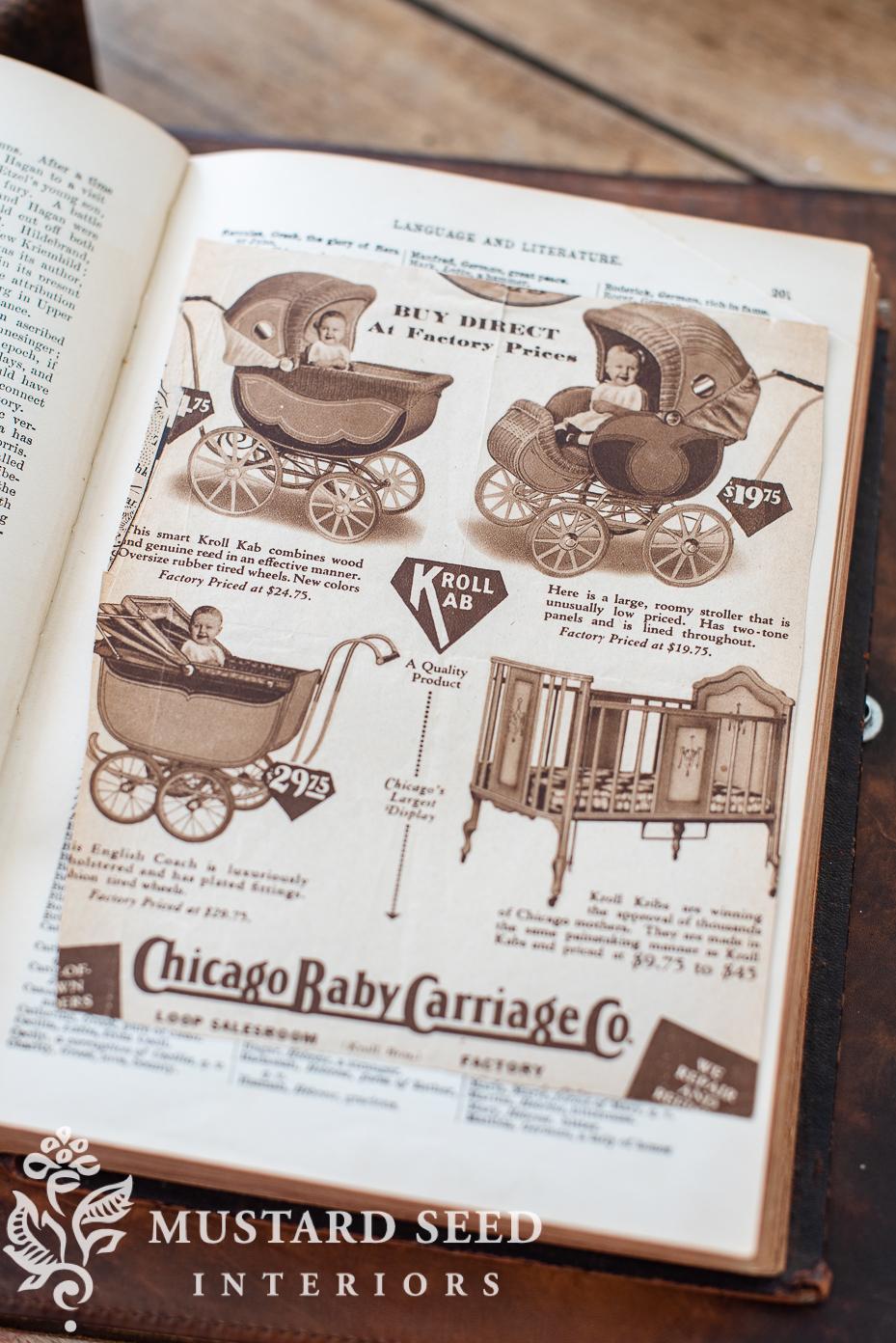 gold rush finds | antique pram advertisement | miss mustard seed